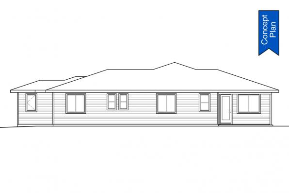 Prairie House Plan - Nehalem 31-233 - Rear Elevation