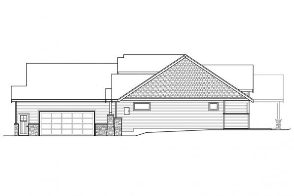 Corner Lot House Plan -  Holly Hill 31-243 - Right Elevation