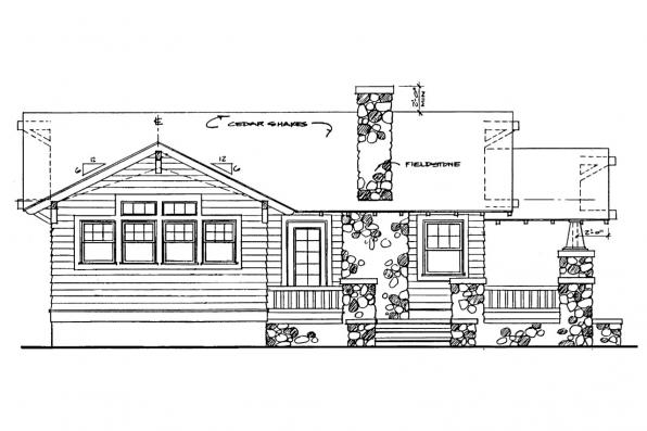 Cottage House Plan - Pinewald 41-014 - Left Elevation