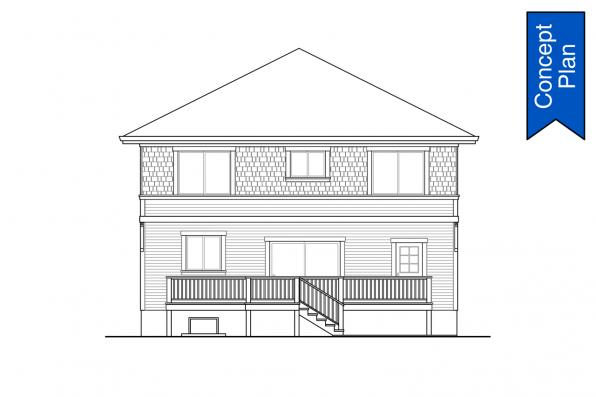 Country Concept House Plan - Ithaca 31-102 - Rear Elevation