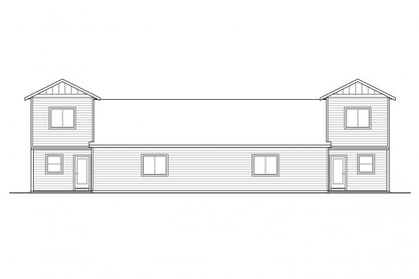 Traditional Duplex Plan Culberson 60-053 - Rear Elevation