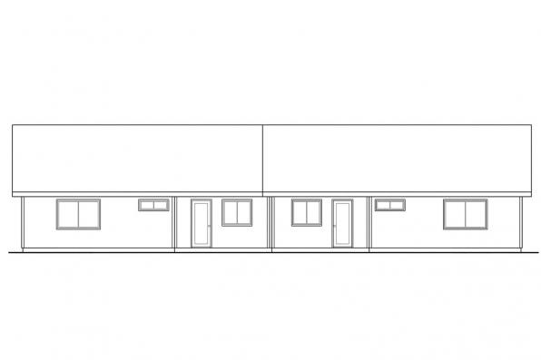 Country House Plan - Ackerman 60-011 - Rear Elevation