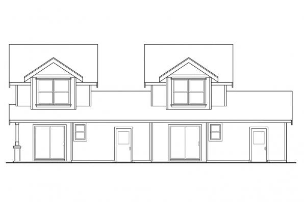 Country House Plan - Cranbrook 60-009 - Rear Elevation