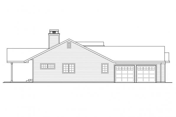Country House Plan - Heartville 10-560 - Left Elevation