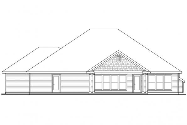 Country House Plan - Jamestown 30-827 - Rear Elevation