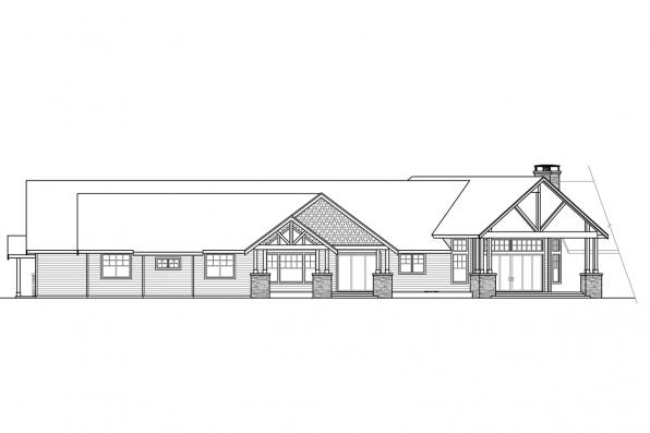 Country House Plan - Petaluma 31-011 - Rear/Right Elevation