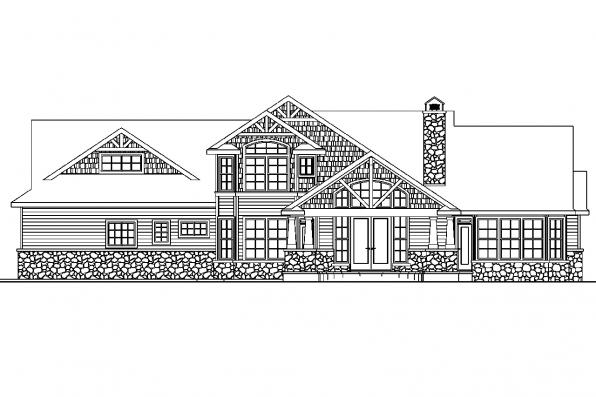 Country House Plan - Tillamook 30-519 - Rear Elevation
