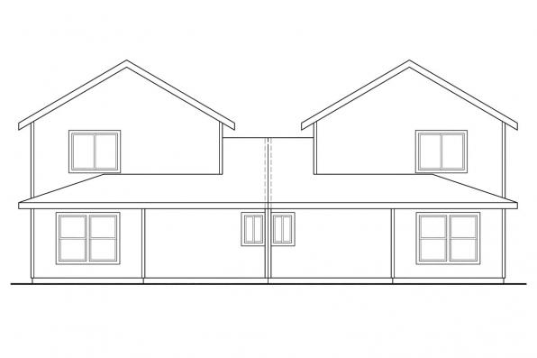 Craftsman House Plan - Cartersville 60-017 - Rear Elevation