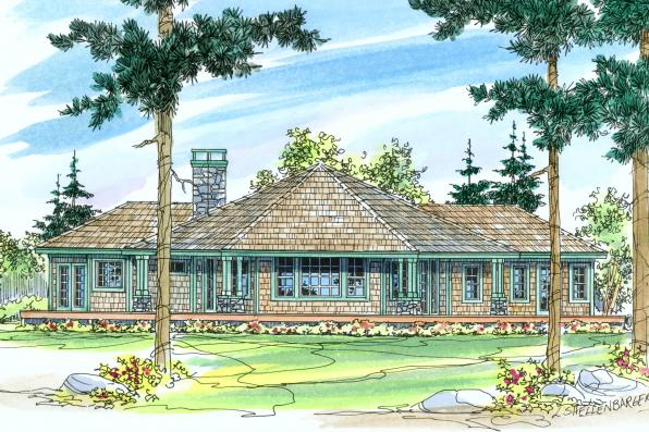 Craftsman House Plan - Eddinger 30-328 - Rear Elevation