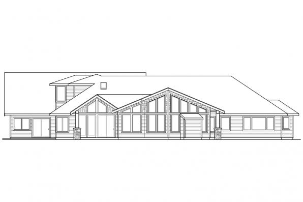Estate House Plan - Missoula 30-595 - Rear Elevation
