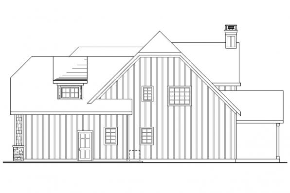 European House Plan - Heartison 10-540 - Right Elevation