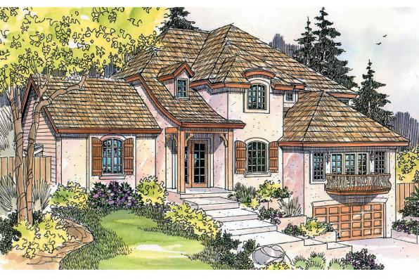 European House Plan - Marseille 30-421 - Front Elevation