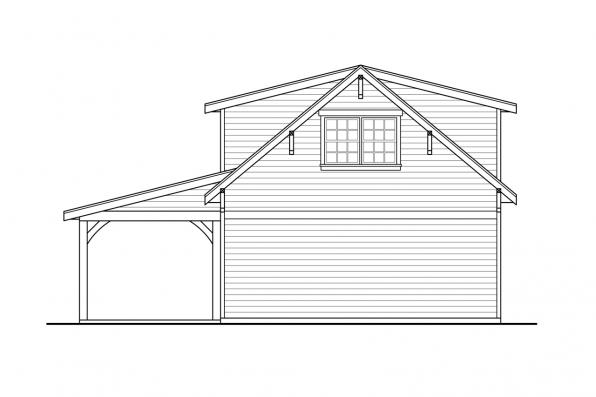 Garage Plan with Living 20-291 - Rear Elevation