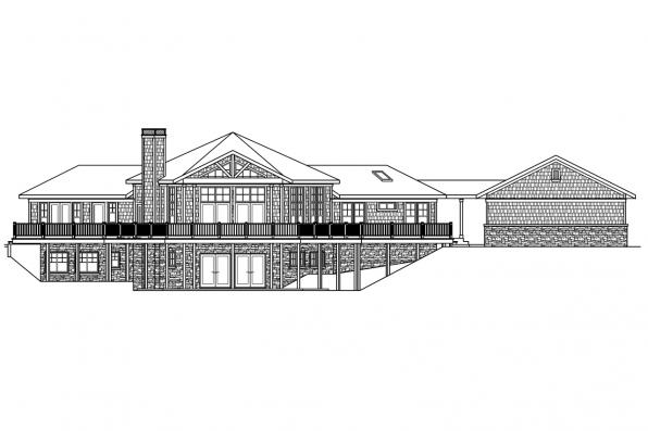 Hexagonal House Plan - Crestview 10-532 - Rear Elevation
