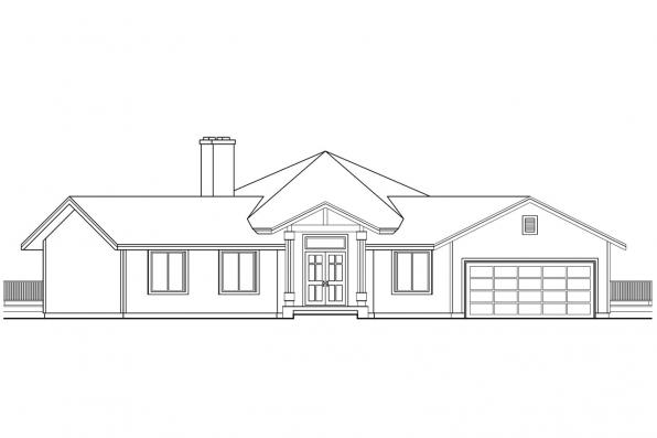 Hexagonal House Plan - Pendleton 10-140 - Front Elevation