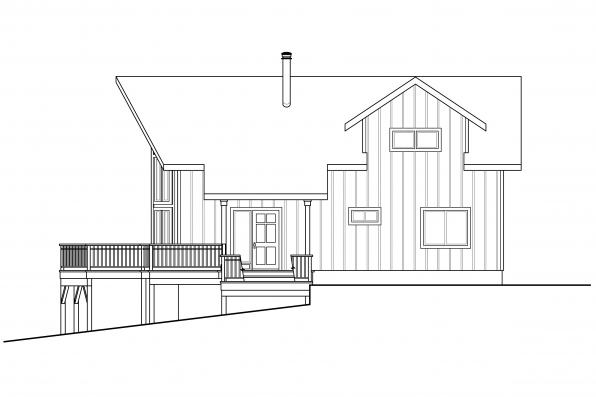 Lodge Style House Design Timer Hill 31-122 - Right Elevation
