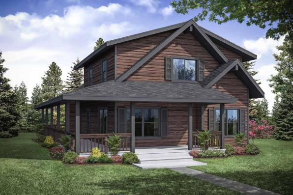 Lodge Style House Plan - Logsden 31-075 - Front Elevation