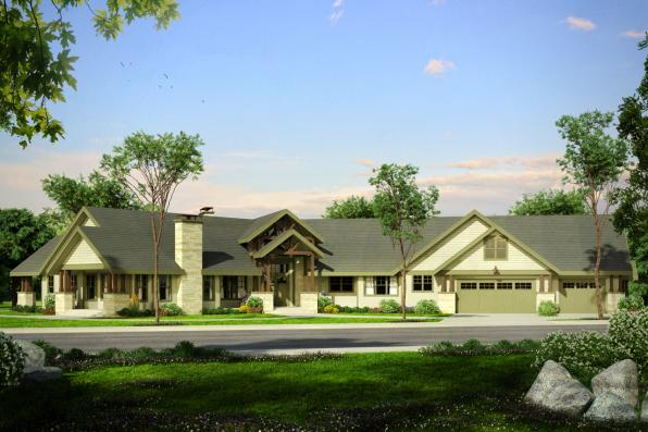 Lodge Style House Plan - Petaluma 31-011 - Front Elevation
