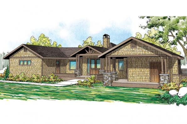 Lodge Style House Plan - Sandpoint 10-565 - Front Elevation