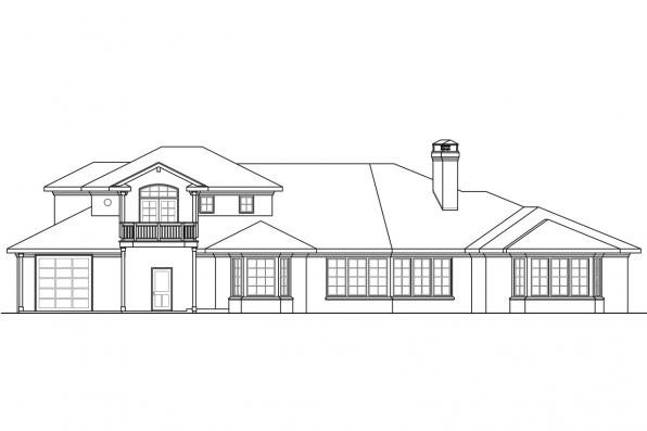 Luxury House Plan - Huntsville 30-463 - Rear Elevation