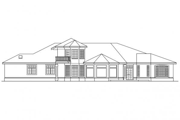 Luxury House Plan - Rochester 10-353 - Rear Elevation