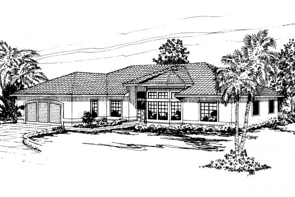 Mediterranean House Plan - Bryant 11-024 - Front Elevation