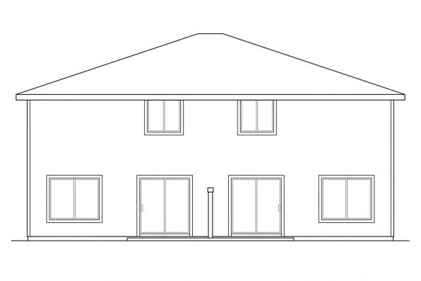 Narrow Lot House Plan - Bergen 60-026 - Rear Elevation