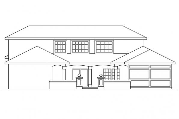 Pool House Plan - Roswell 11-086 - Rear Elevation