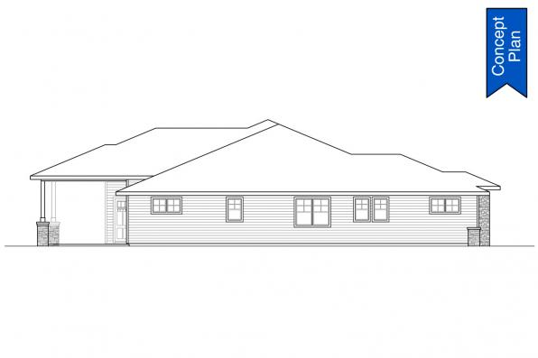 Prairie House Plan - Elmwood 31-166 - Left Elevation