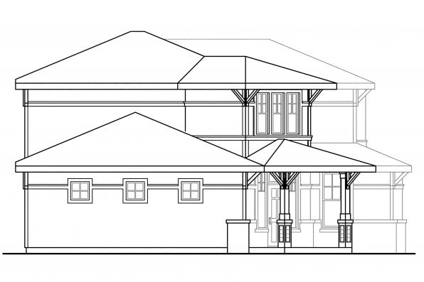 Prairie Style House Plan - Bowman 30-315 - Left Elevation