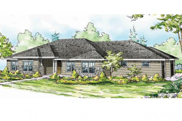 Prairie Style House Plan - Fall Creek 30-755 - Front Elevation