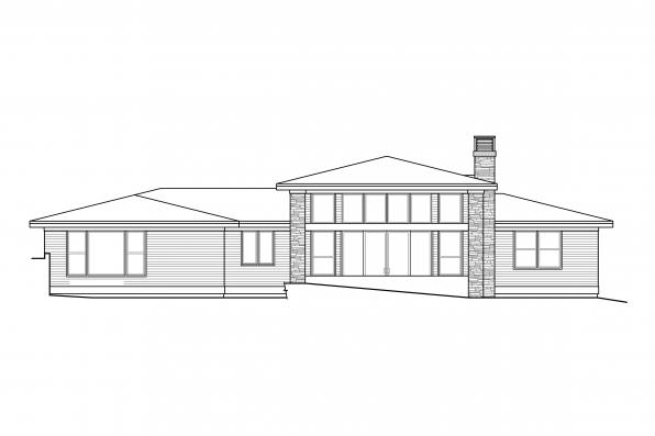 Ranch Home Design Hemlock 31-157 - Rear Elevation