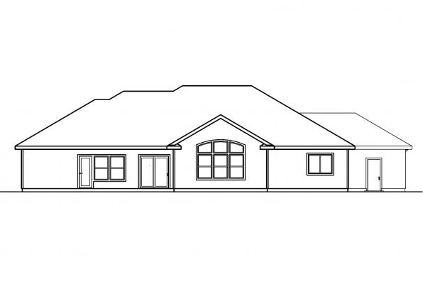 Ranch House Plan - Brittany 30-317 - Rear Elevation