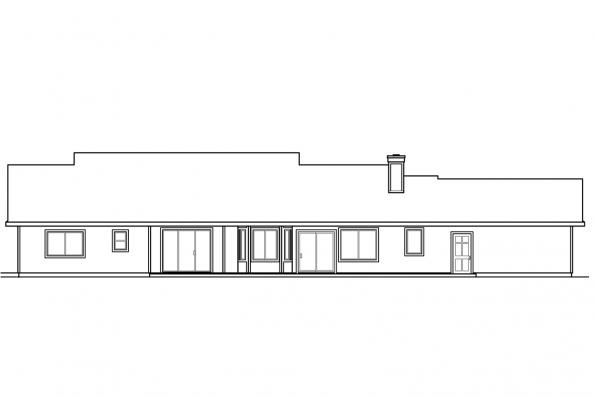 Ranch House Plan - Clarkdale 30-783 - Rear Elevation