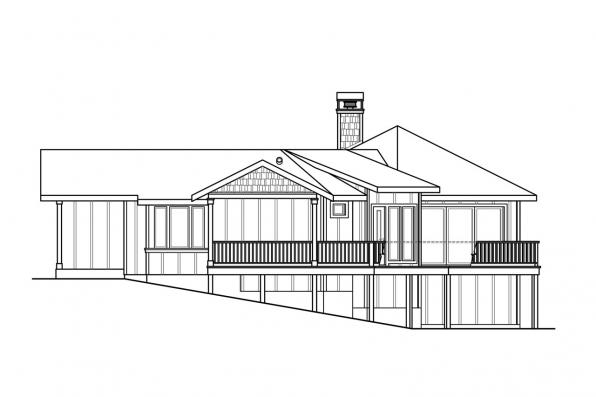 Ranch House Plan - Edgewater 10-578 - Right Elevation