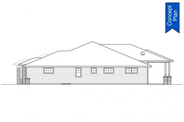 Ranch House Plan - Elmwood 31-166 - Right Elevation