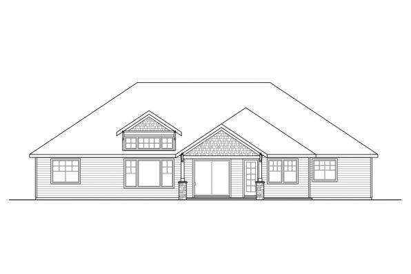 Ranch House Plan - Laceflower 31-118 - Rear Elevation