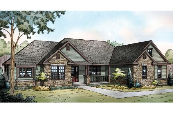Ranch House Plan - Manor Heart 10-590 - Front Elevation