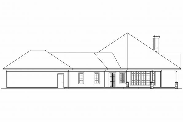 Ranch House Plan - Myersdale 10-453 - Right Elevation