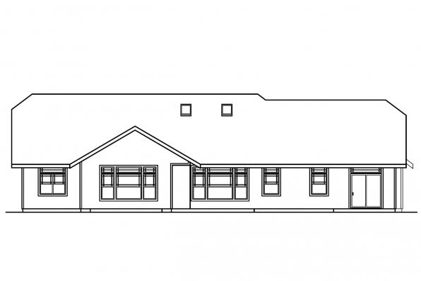 Ranch House Plan - Pinedale 30-228 - Rear Elevation
