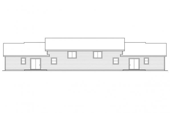 Sloped Lot House Plan - Vancouver 60-031 - Rear Elevation