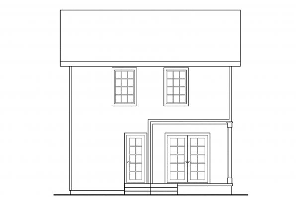Small House Plan - Emerson 30-108 - Rear Elevation