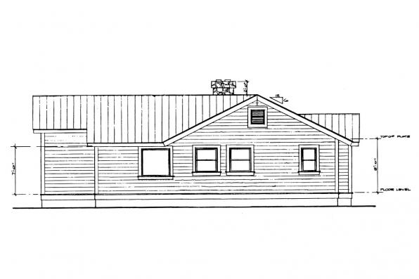 Small House Plan - Windham 41-003 - Rear Elevation