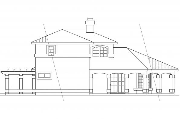 Southwest House Plan - Lauderdale 11-037 - Left Elevation