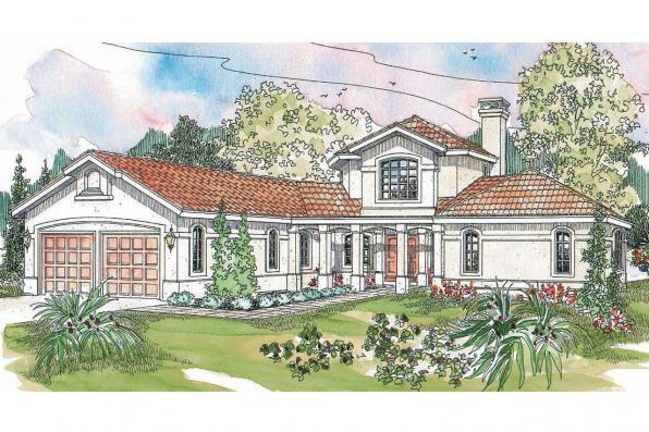 Spanish Style House Plan - Grandeza 10-136 - Front Elevation