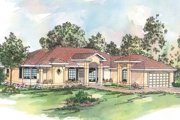 Spanish Style House Plan - Richmond 11-048 - Front Elevation