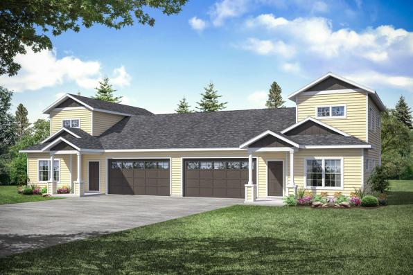 Cottage Duplex Design Culberson 60-053 - Front Elevation