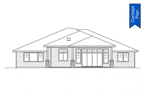 Traditional House Plan - Elmwood 31-166 - Rear Elevation