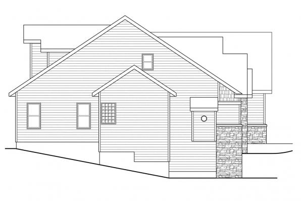 Traditional House Plan - Lakeside 10-551 - Left Elevation