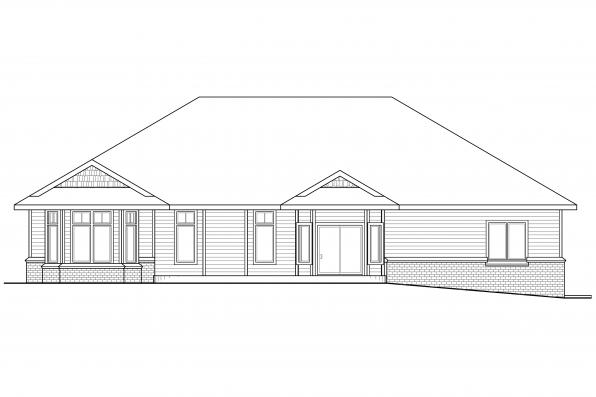 Traditional House Plan - Stansbury 30-500 - Rear Elevation